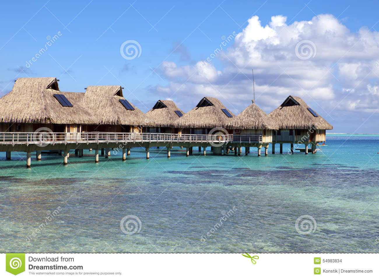 Delightful Typical Landscape Of Tropical Islands   Huts, Wooden Houses Over Water.  Maldives, Coral.