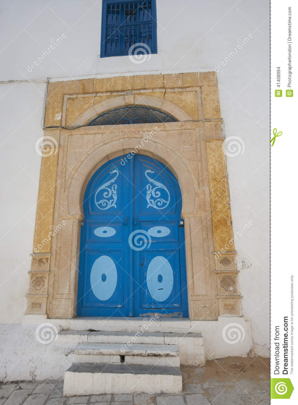 Typical local door of traditional home, Tunis, Tunisia