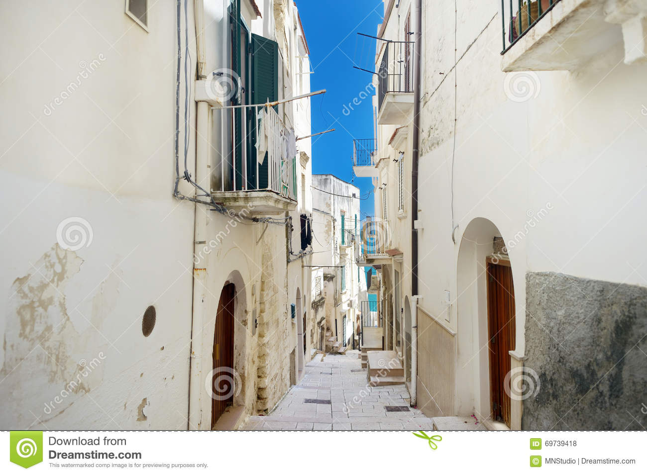 Typical medieval narrow street in beautiful town of Vieste