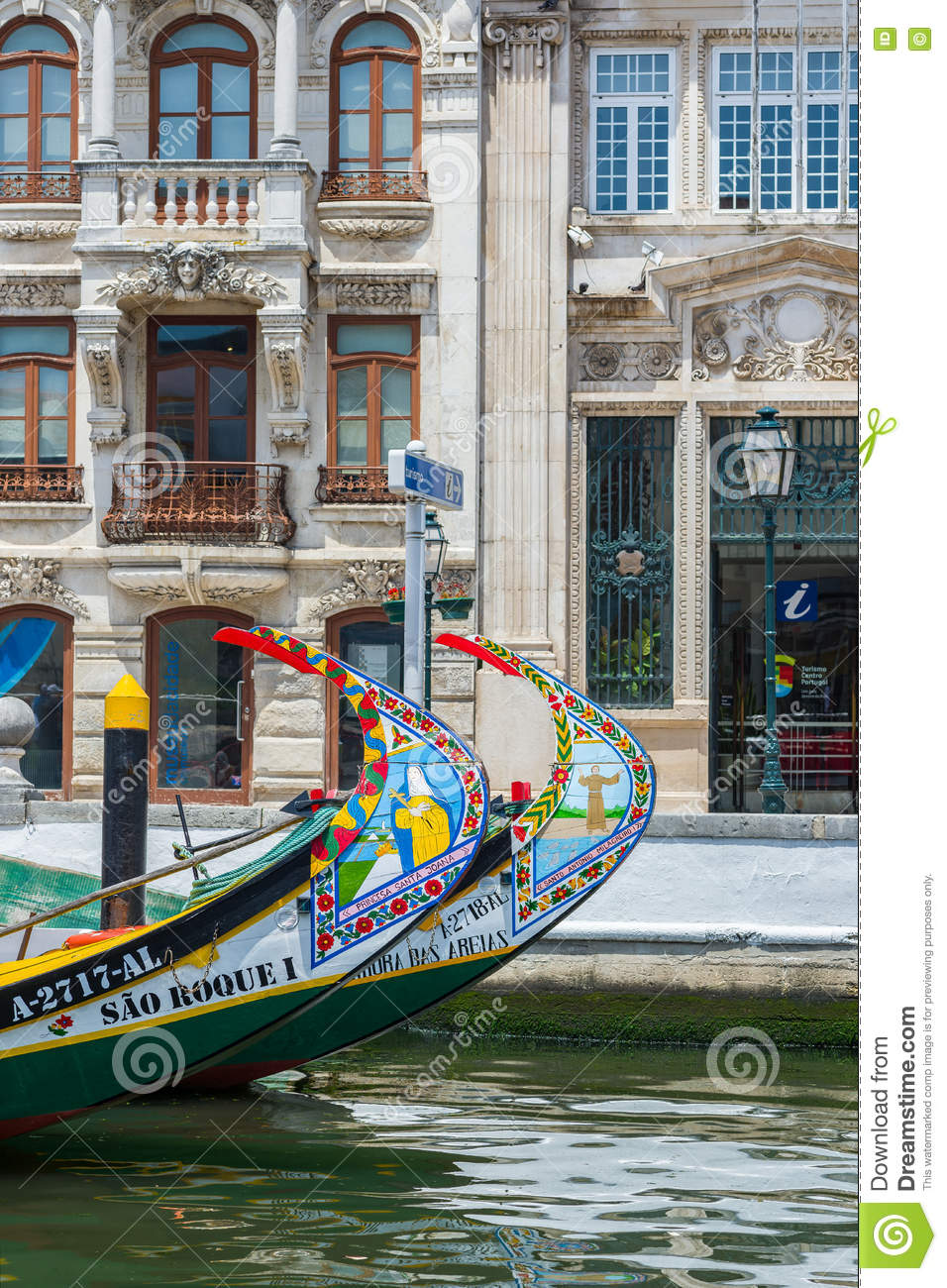 Typical Moliceiro boat of Aveiro. Portugal.