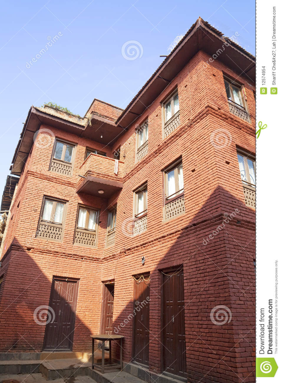 Typical Nepalese Brick House Stock Images Image 12574954
