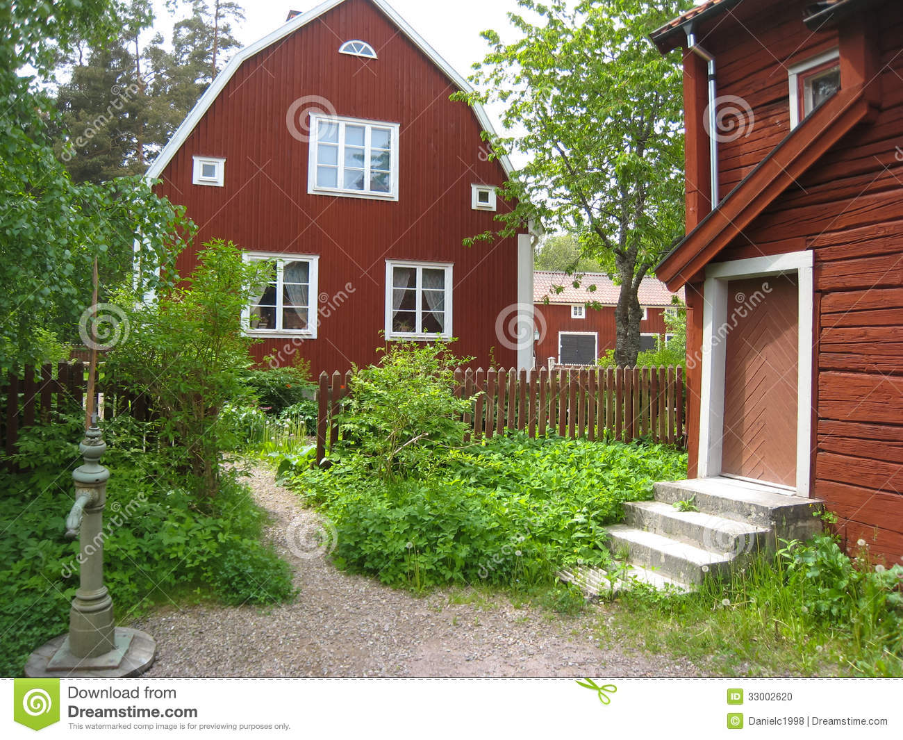 Typical Old Red Timber Houses. Linkoping. Sweden Stock ...