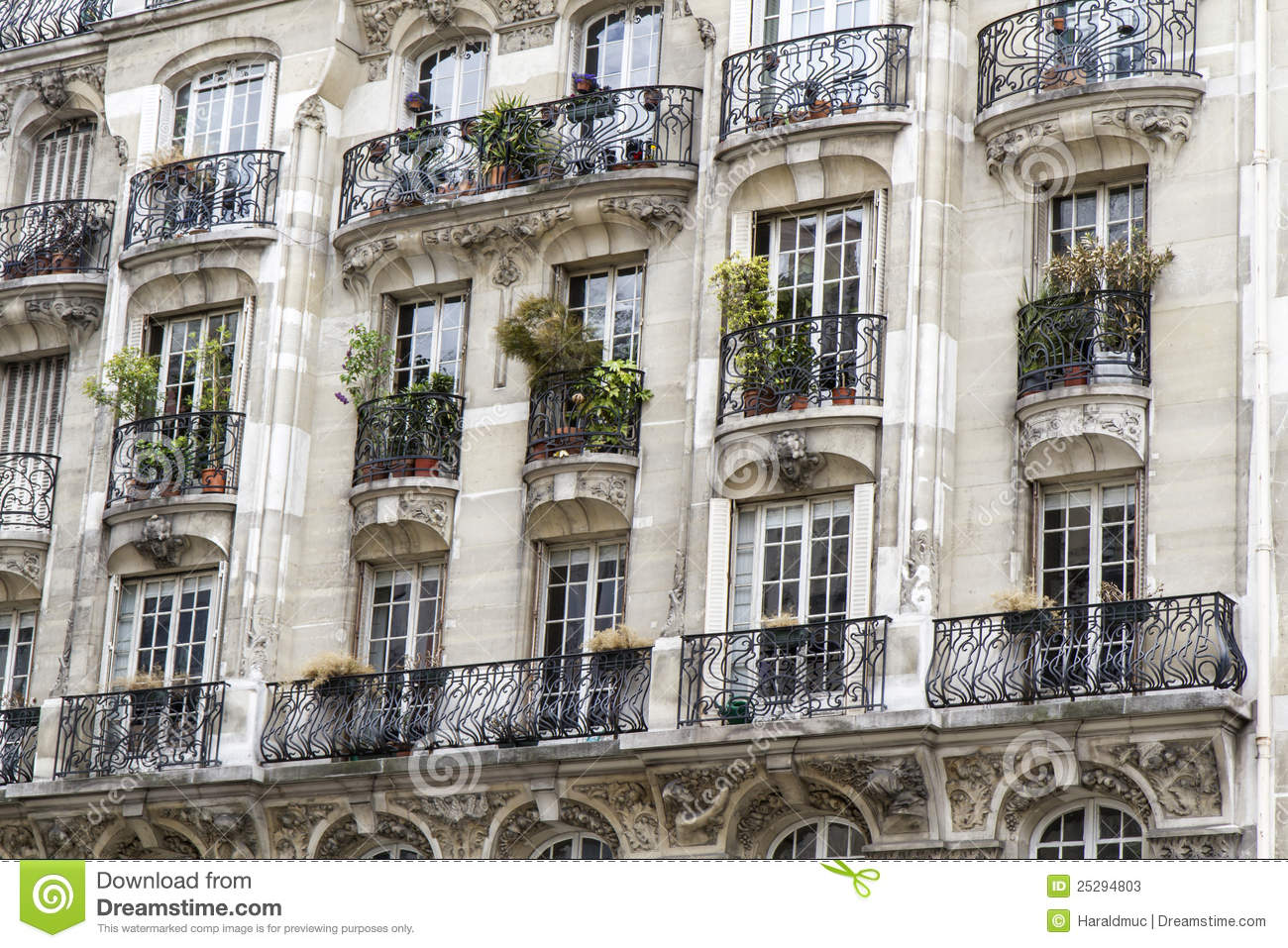 typical parisian architecture with balcony stock image image 25294803. Black Bedroom Furniture Sets. Home Design Ideas