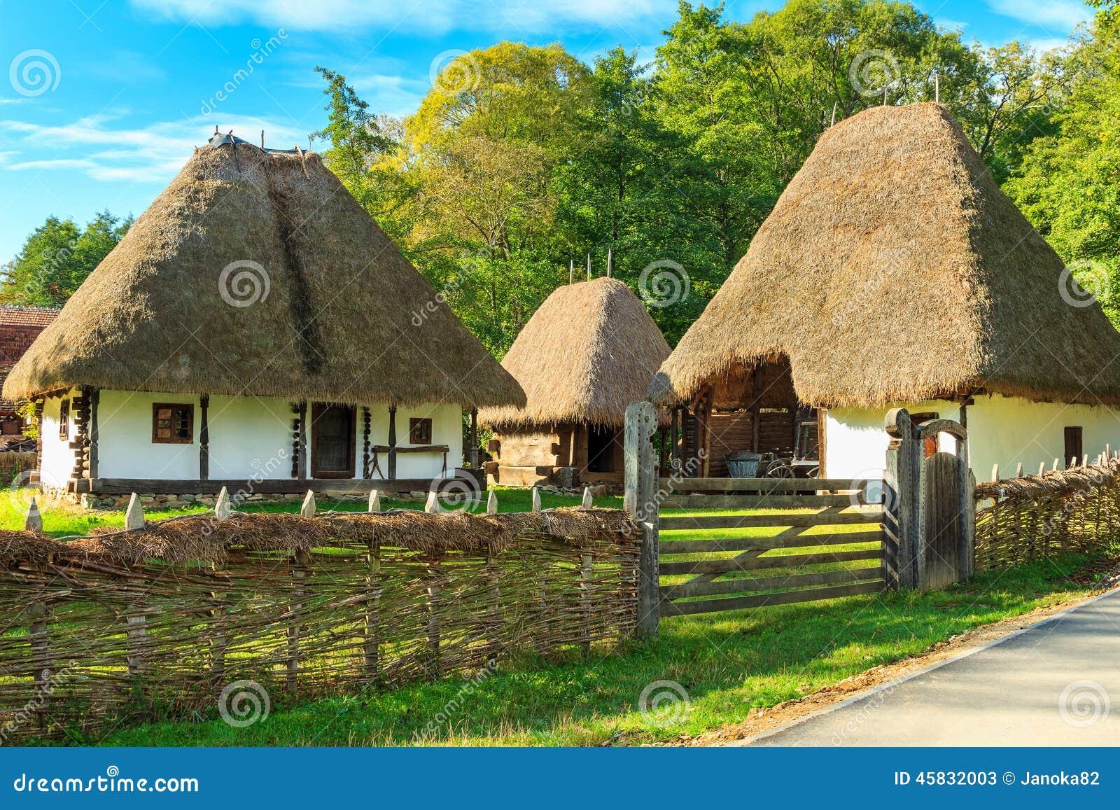 Typical peasant houses astra ethnographic village museum sibiu romania europe stock photo - Romanian peasant houses ...