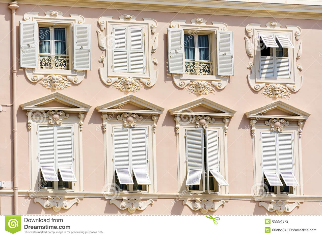 Antique Windows Typical Pink Buildinga With Antique Windows In Monacofrance Stock