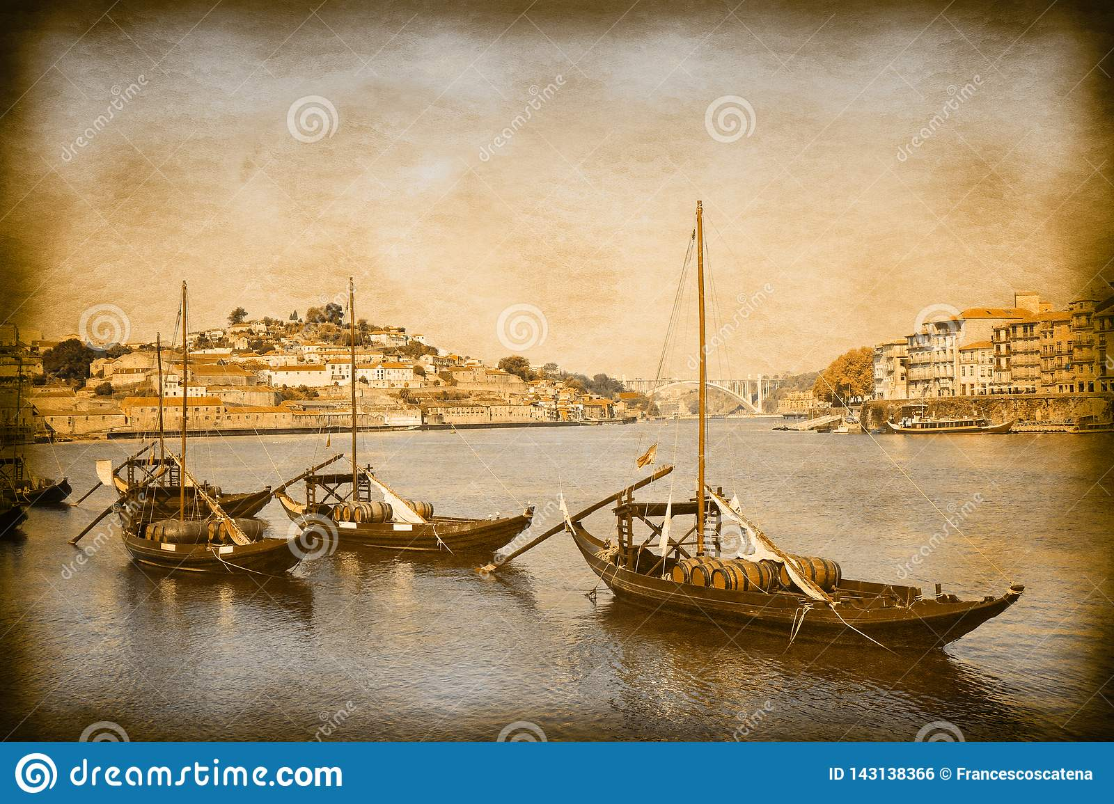Typical portuguese boats used in the past to transport the famous port wine- Vintage and Retro Photo Effects added