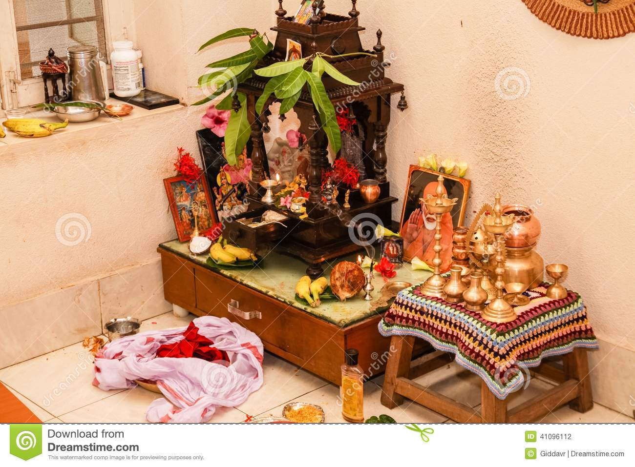 Typical Prayer Room Hindu South Indian Family Home Stock Photo ...