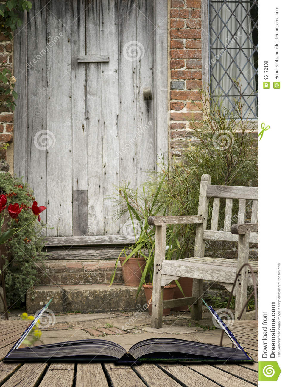Typical Quintessential Old English Country Garden Image Of Wooden