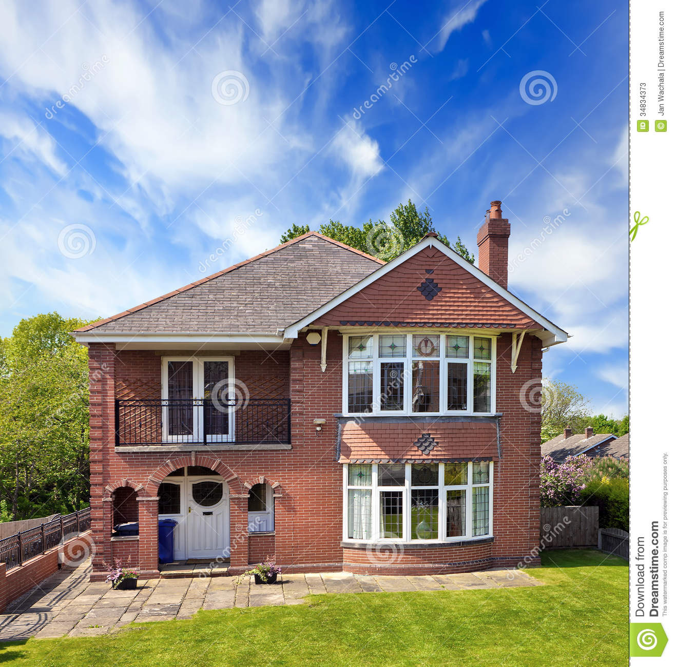 New Construction Brick Home: Typical Red Brick House Stock Photos