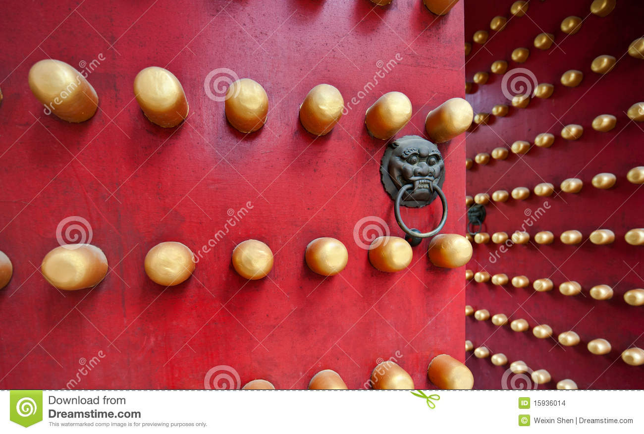 Typical Red Door Of Chinese Palace Stock Photo Image Of Face Head