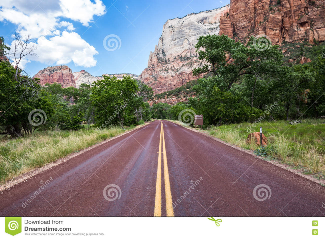 Typical red road in Zion National Park, Utah, USA