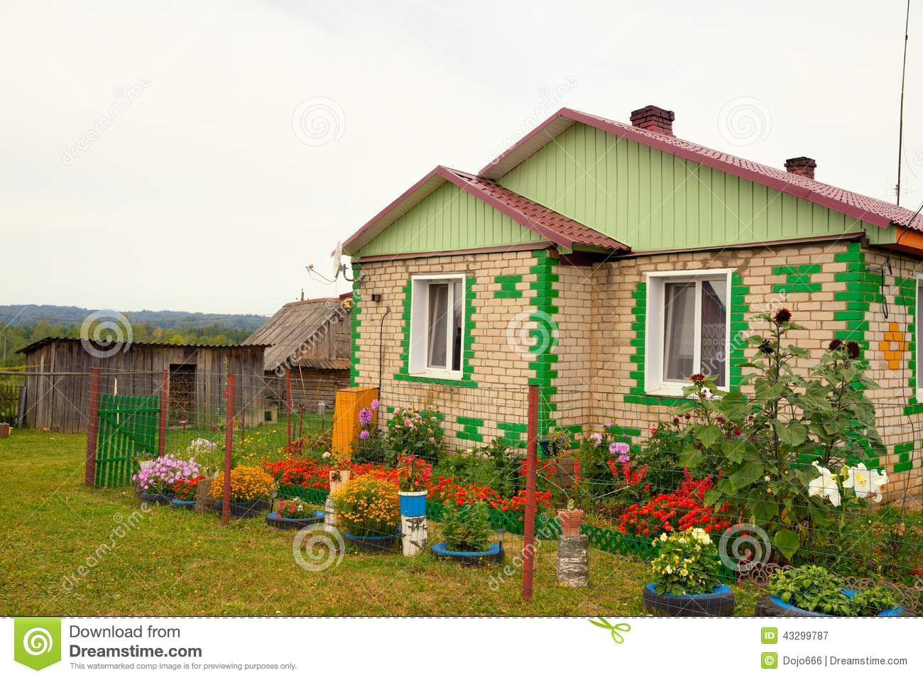 typical russian village house in the countryside stock image image 43299787. Black Bedroom Furniture Sets. Home Design Ideas