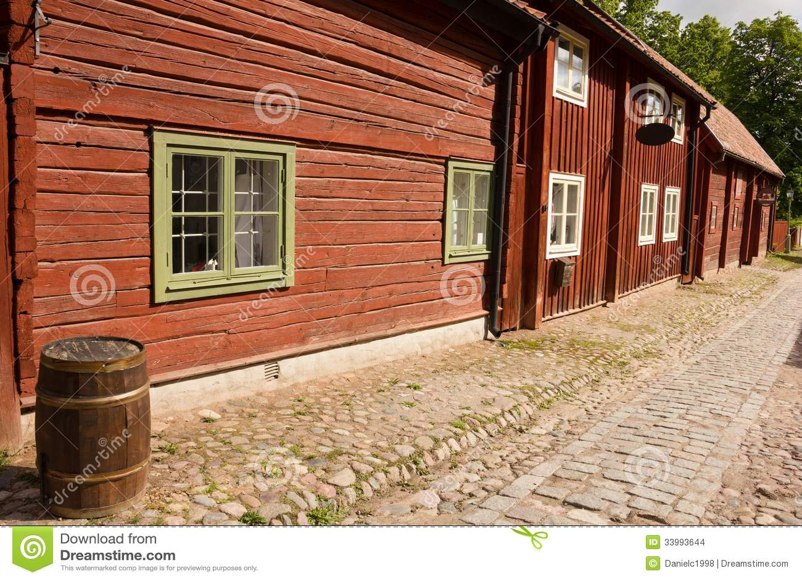 Typical scandinavian timber houses. Linkoping. Sweden