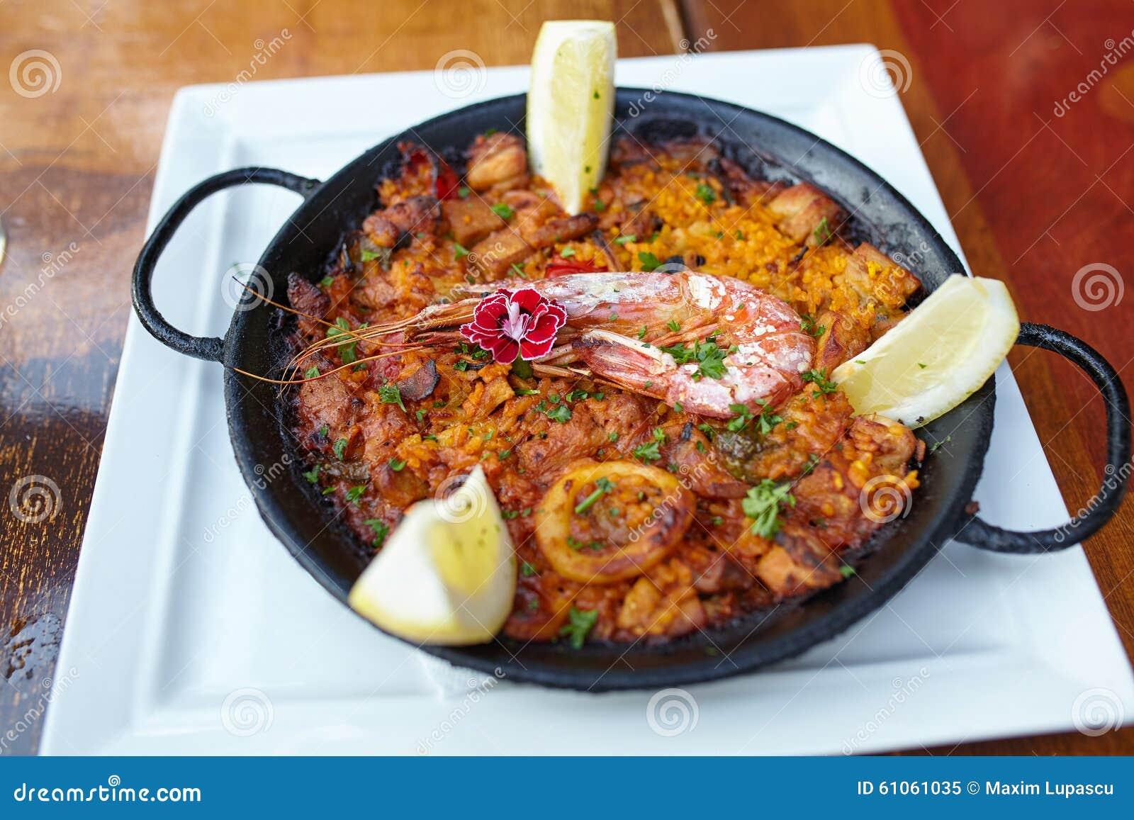 Typical spanish seafood paella dish