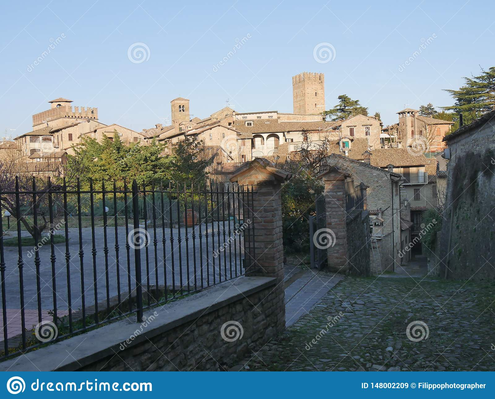 Typical street in Castell`Arquato