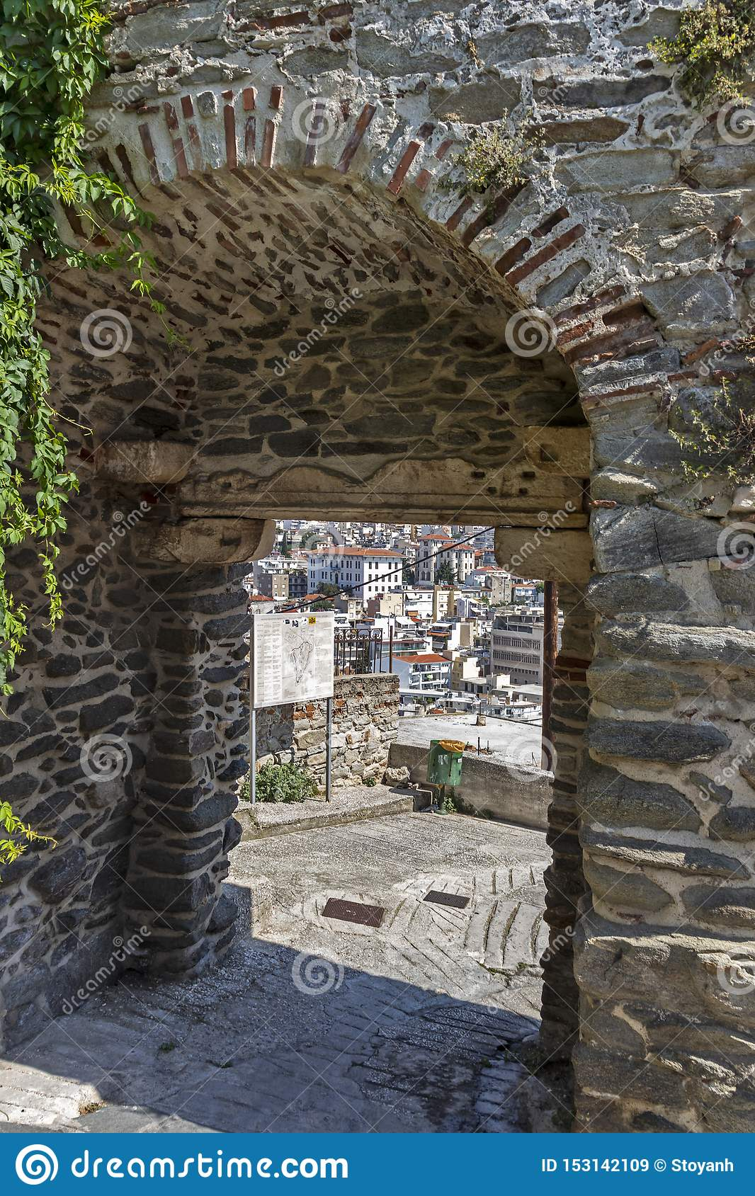 Typical street and houses at old town of city of Kavala, Greece