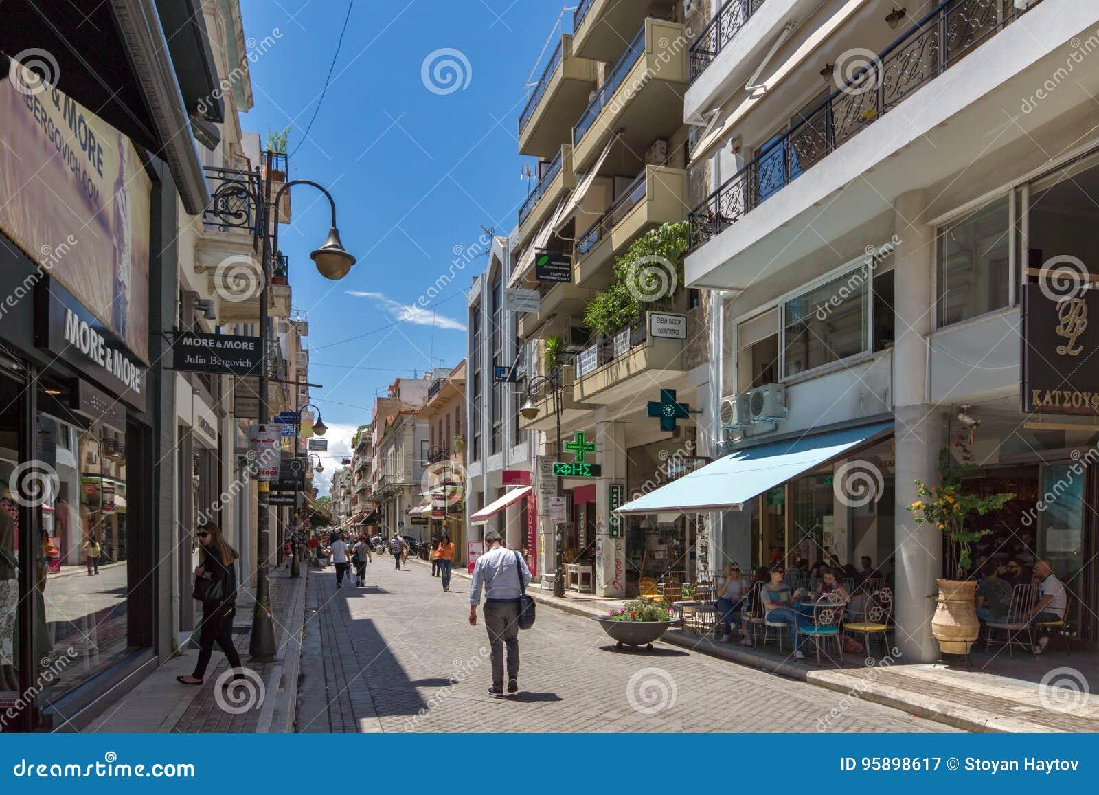 Typical street in Patras, Peloponnese, Western Greece