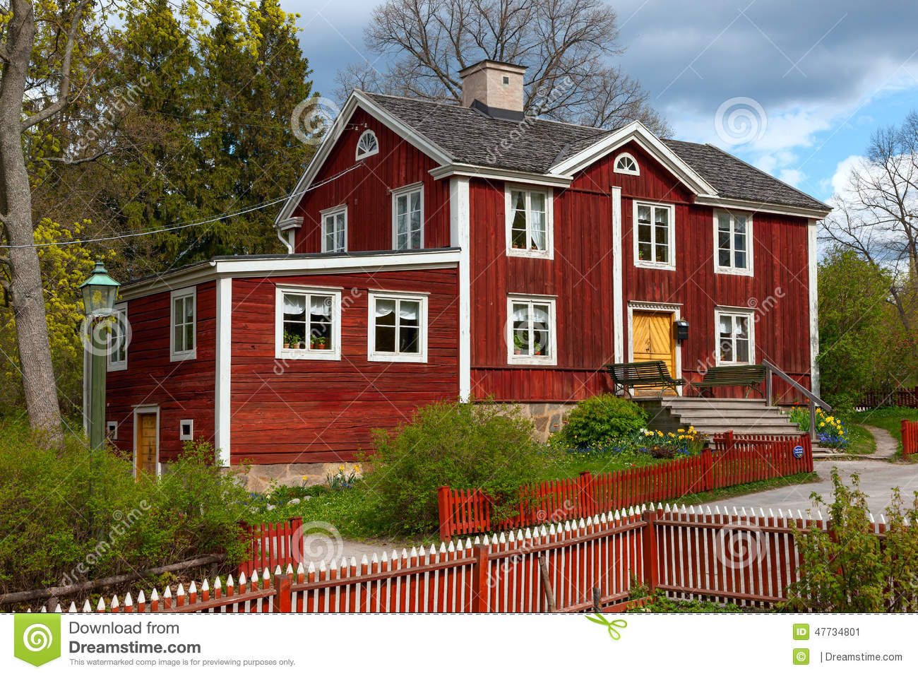 Typical Swedish Wooden House Stockholm Stock Image Image