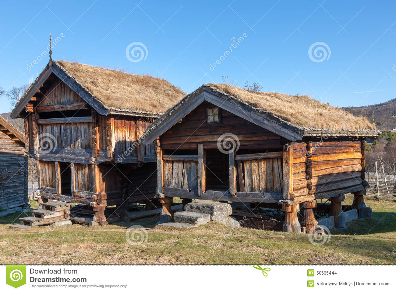 Typical Swedish Wooden Houses Farmhouse Yard Stockholm