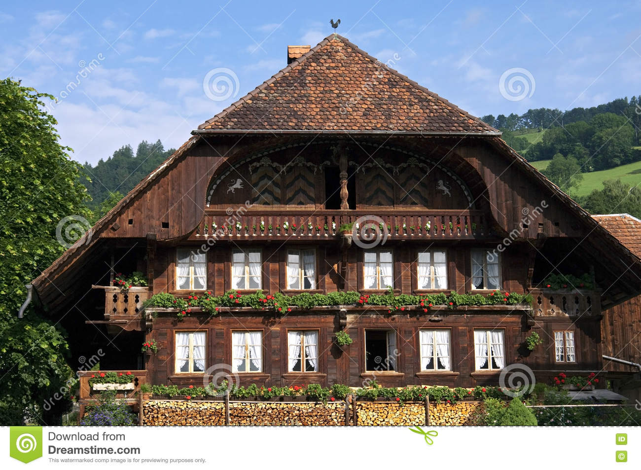Swiss Mountain House typical swiss farm house stock photos, images, & pictures - 93 images