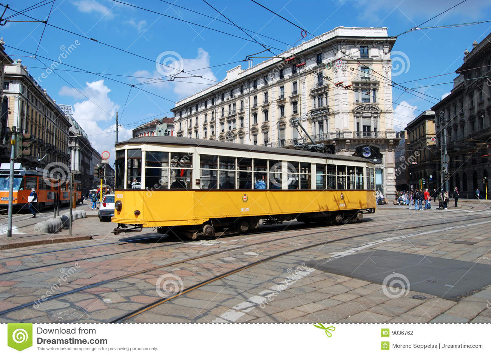 Typical tram (tramcar, trolley) in Milan square