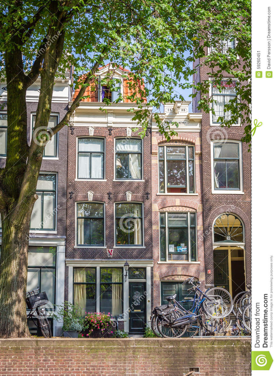 A Typical Very Narrow House In Old Amsterdam Editorial