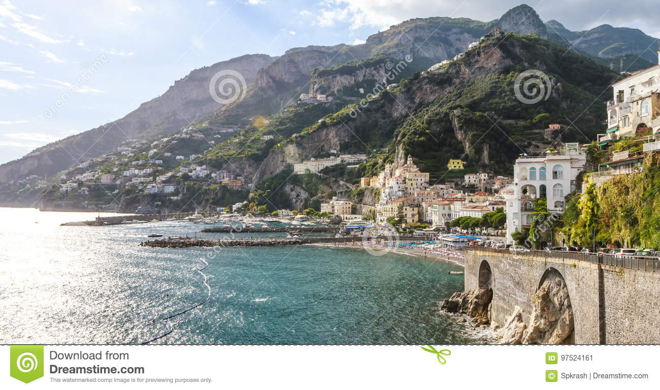Typical view of Amalfi Coast with cityscape sea and mountains