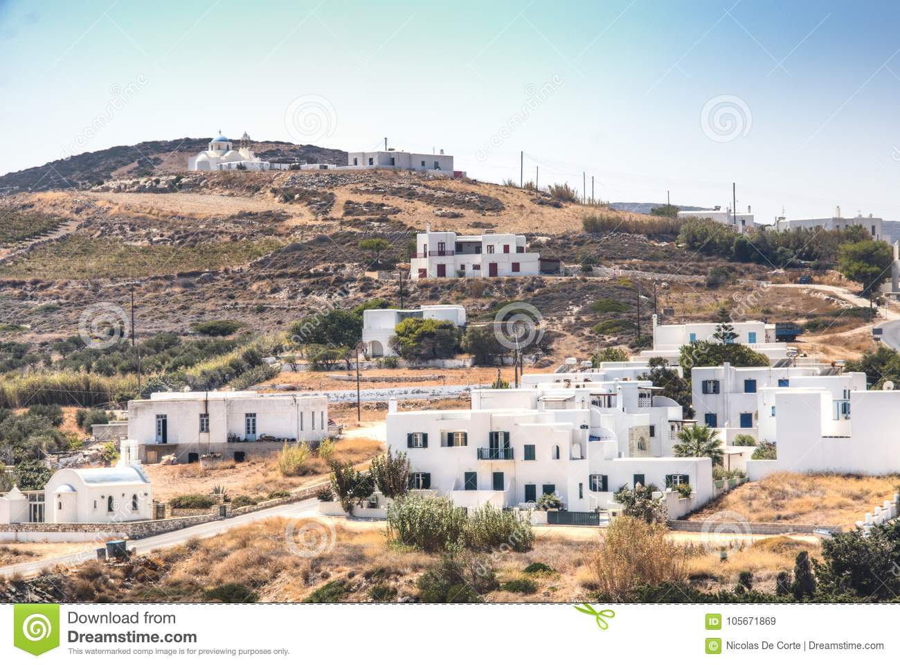Typical village on Antiparos, Greece