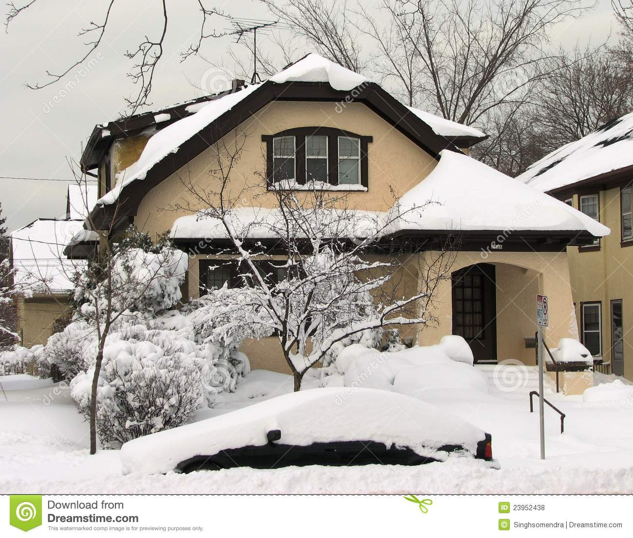 Pictures For House: Typical Wisconsin House After Heavy Snow Fall Stock Photo