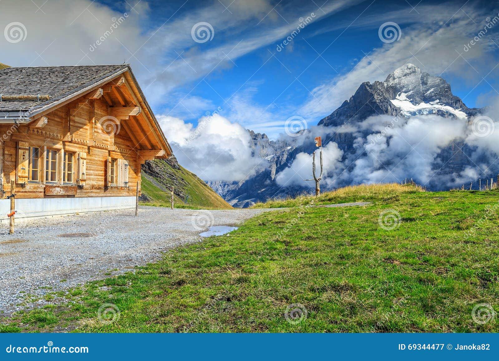 Typical Wooden Alpine Chalet Grindelwald Switzerland
