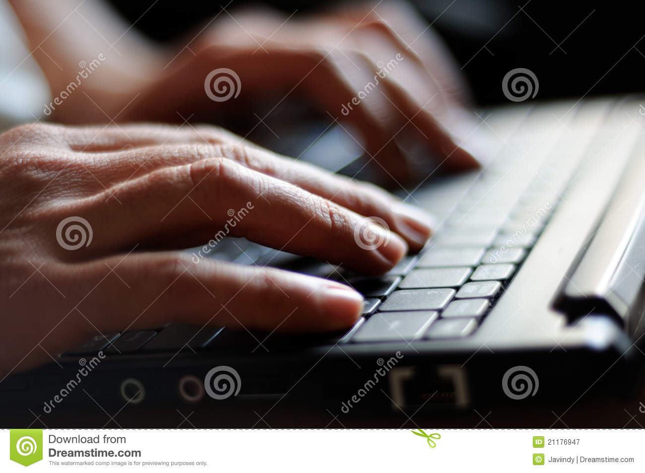 Typing female hands