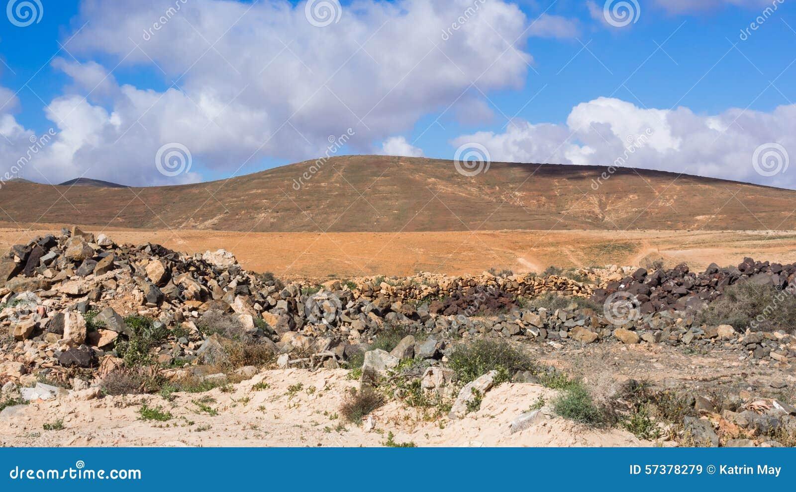 Typisch landschap van Fuerteventura, Canarische Eilanden