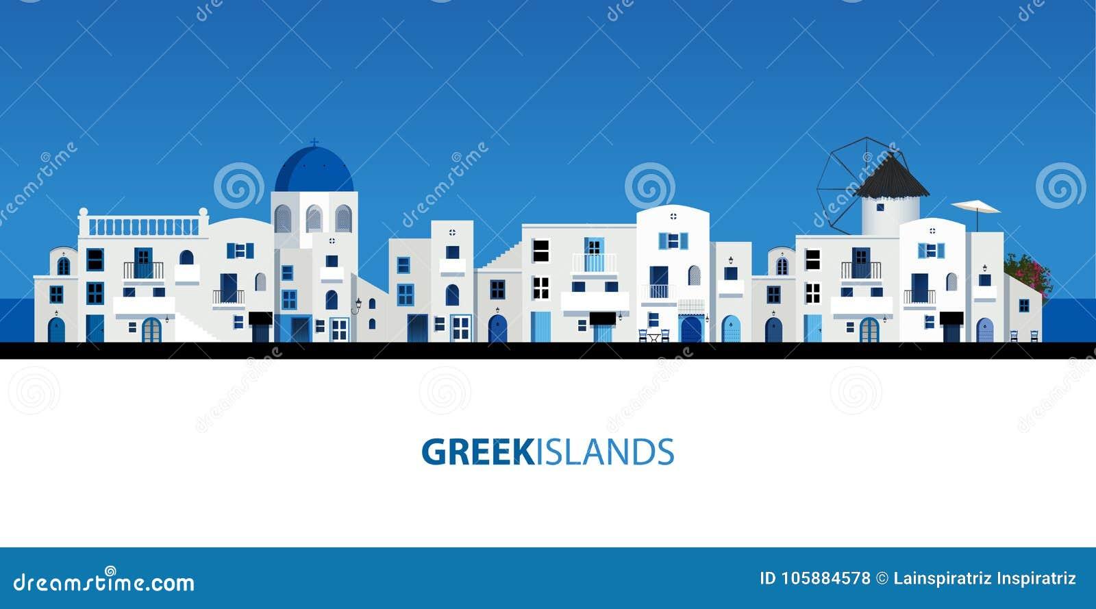 Typische Griekse eilandhuizen Blauwe hemel en overzees op de achtergrond