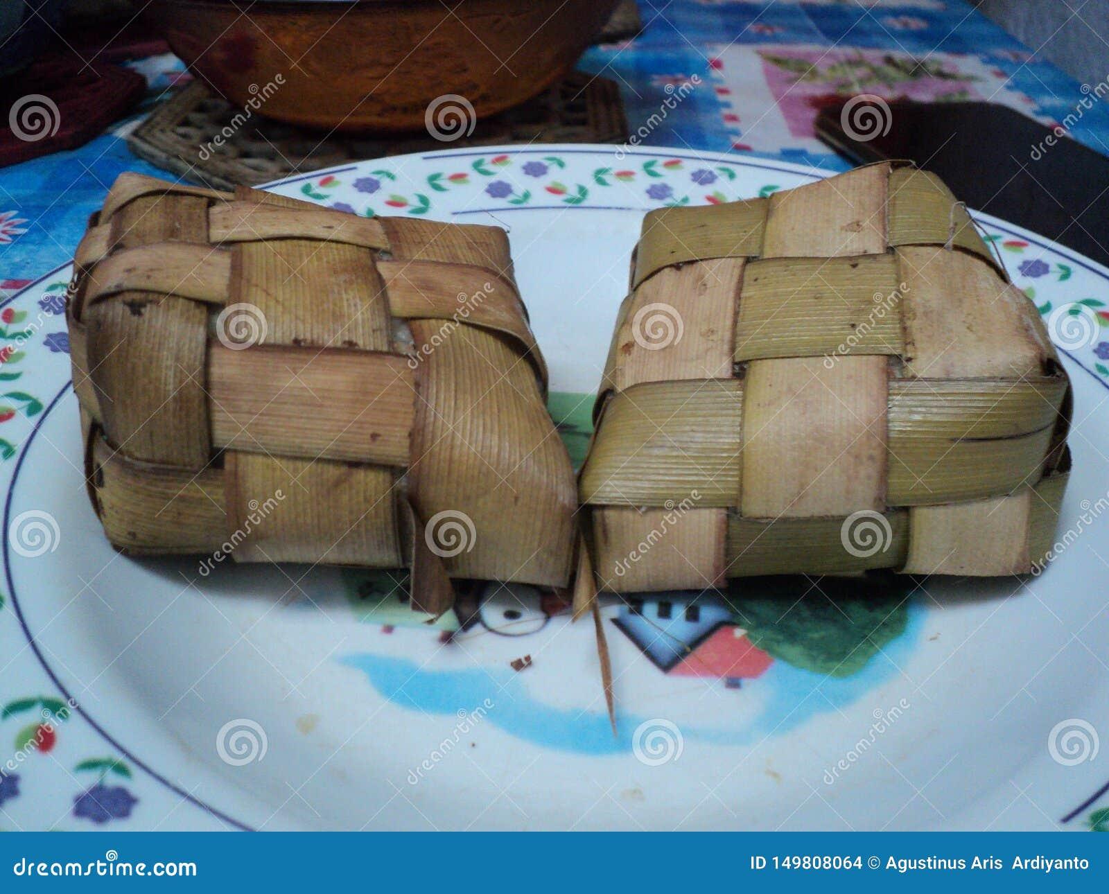 Typische Nahrung Ketupat wenn Eid al-Fitr