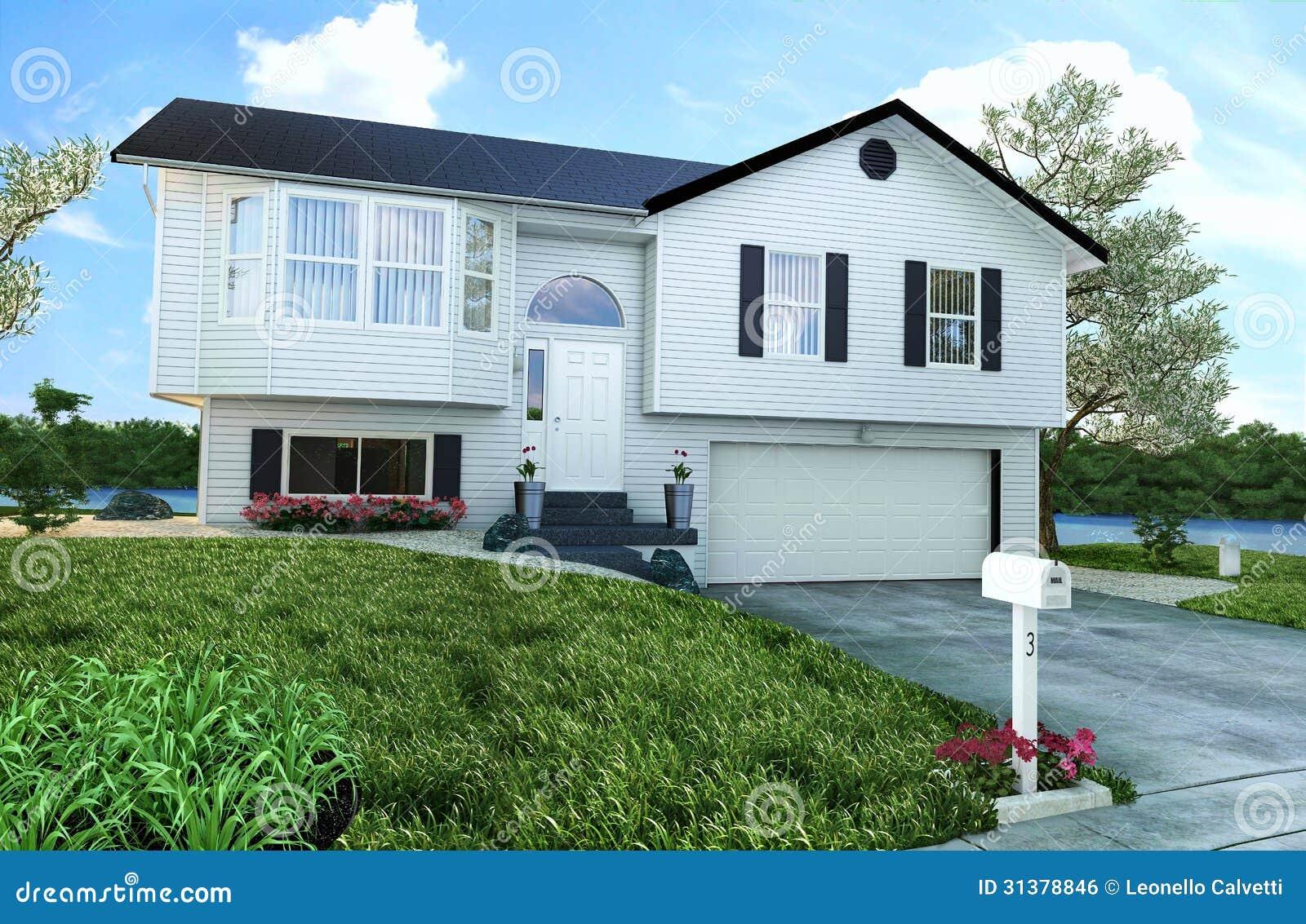 Typisches Amerikanisches Holzhaus Mit Garten Baumen Und Einem Fluss