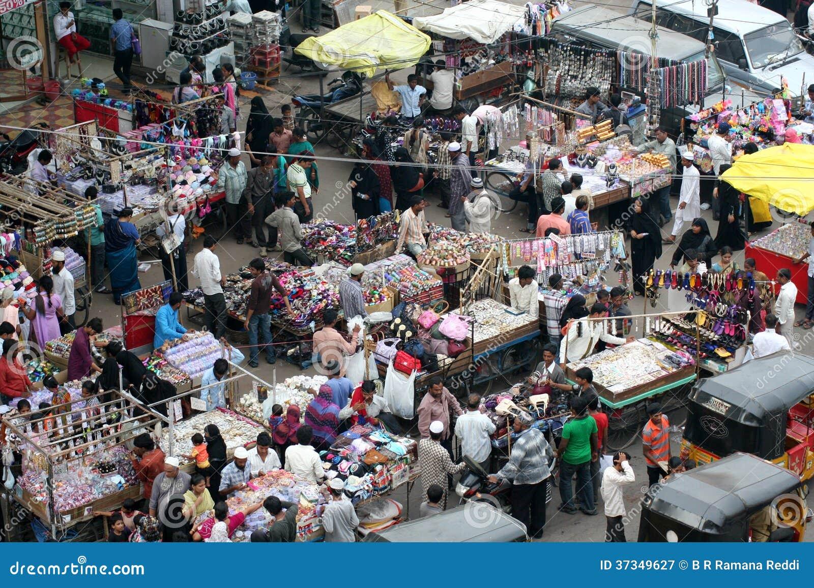 Typisk indisk gatamarknad, Hyderabad, Indien