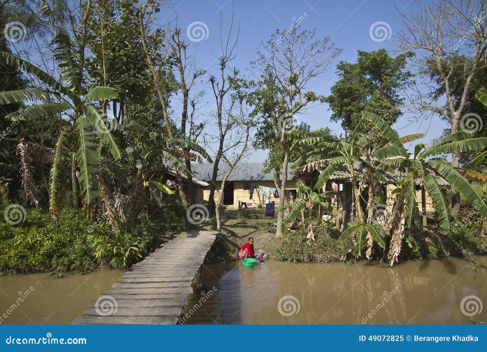 Bardia Nepal  City new picture : Typisk Tharuby, Bardia, Nepal Redaktionell Foto Bild: 49072825