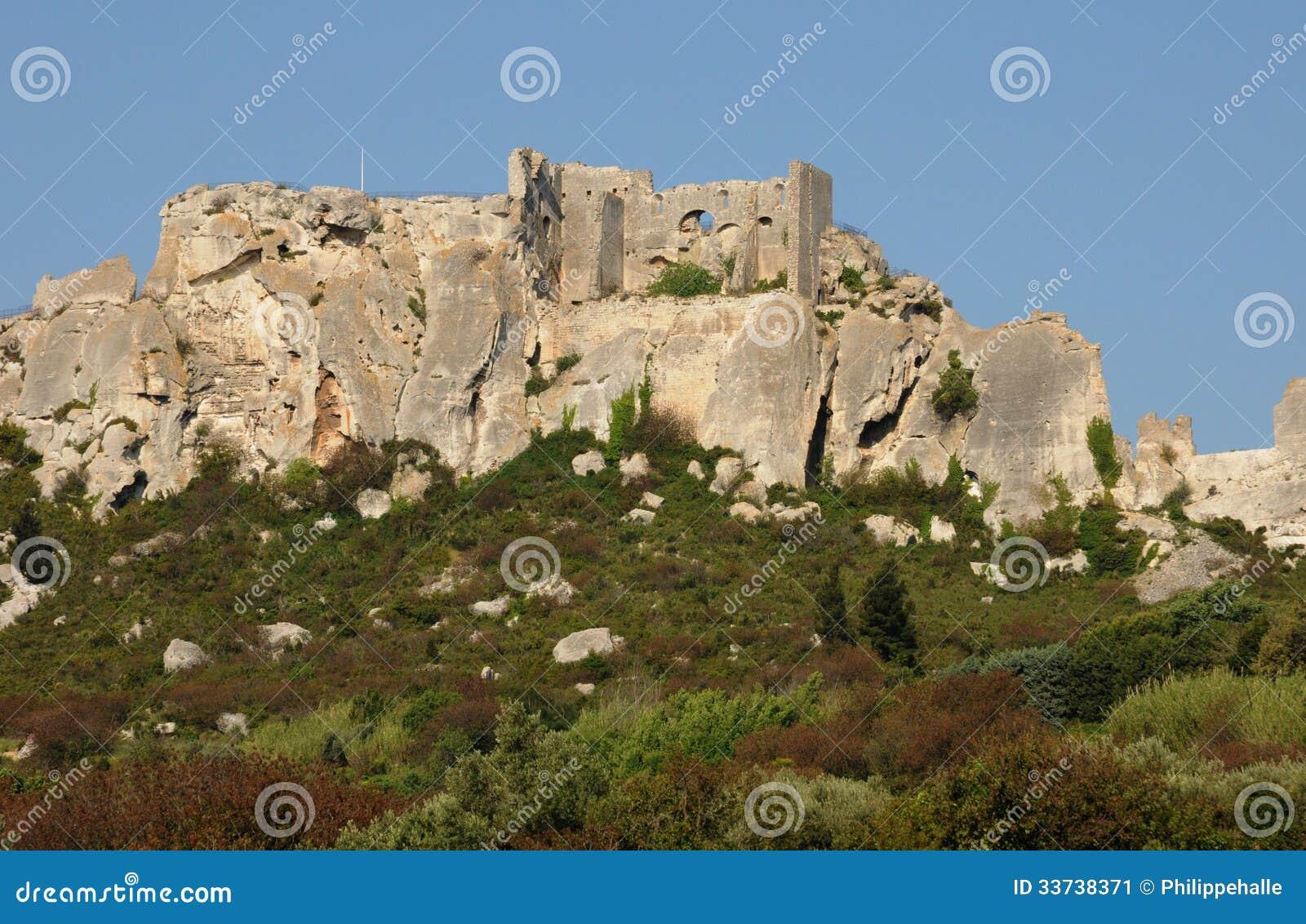 Typiska landskap av Les-Baux-de-Provence