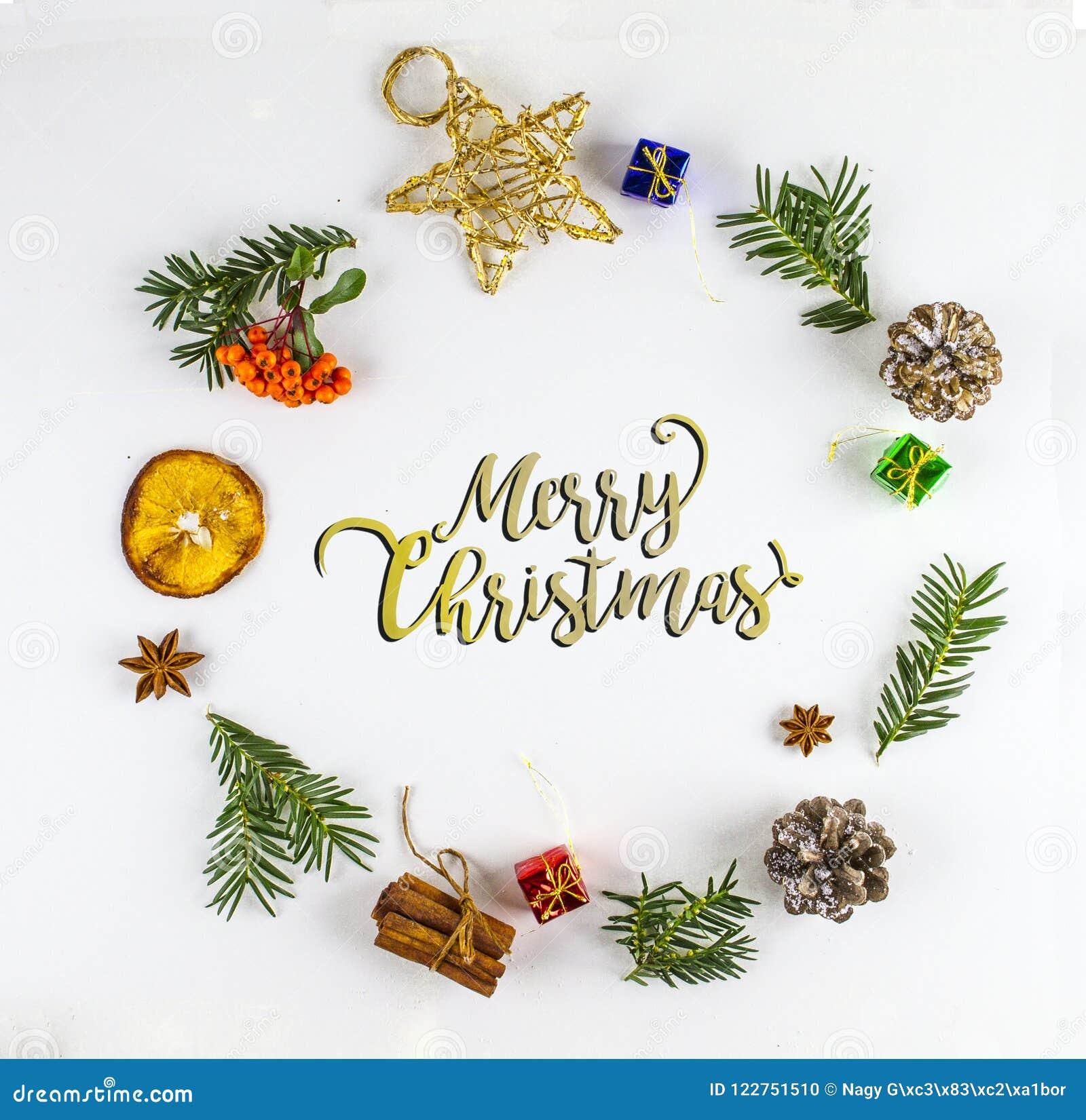 Typografi för glad jul GRANFILIAL OCH JULDEKORPRYDNAD I CIRKEL
