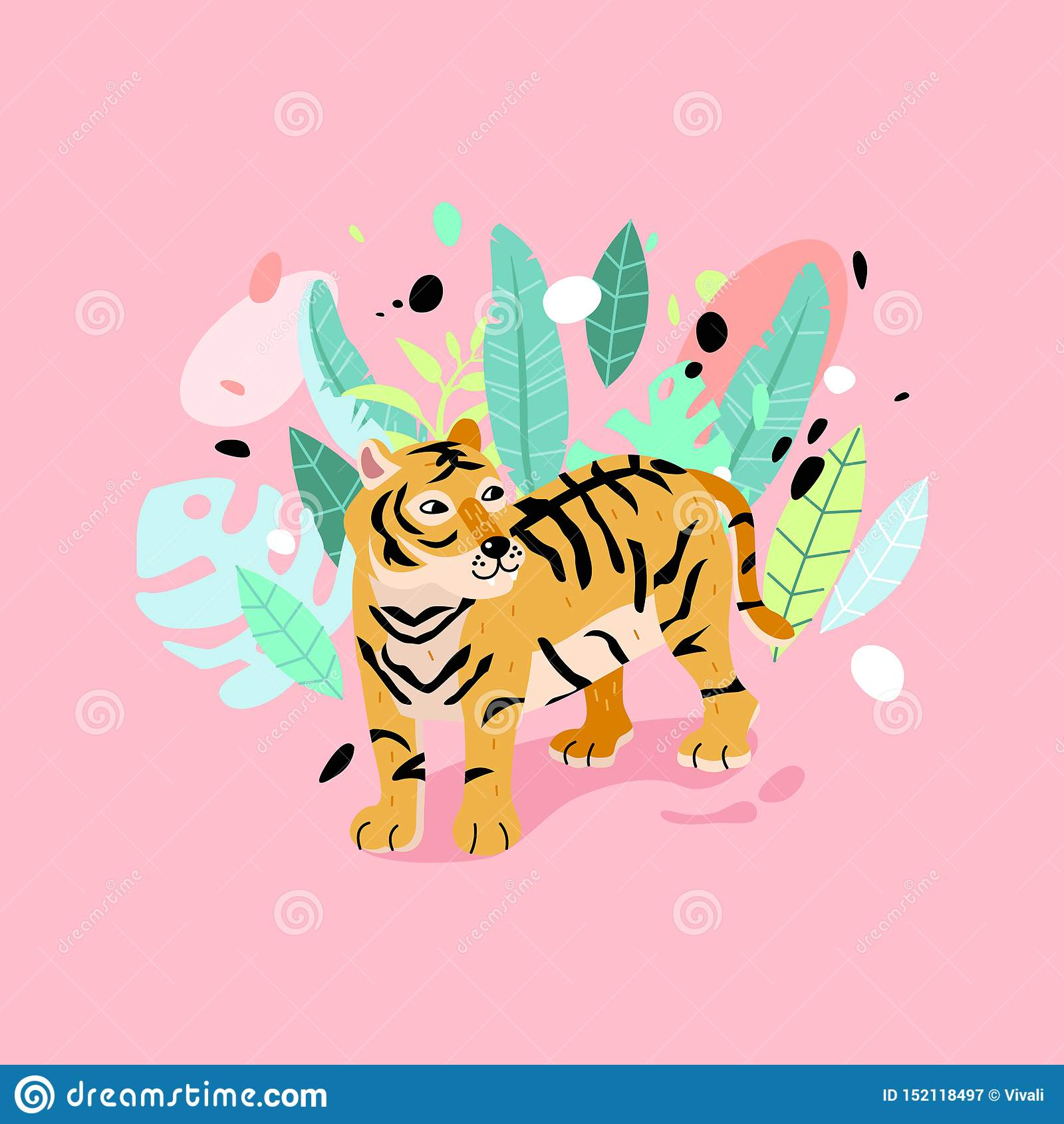 Typografia slogan z pasiastą tygrysią ilustracją