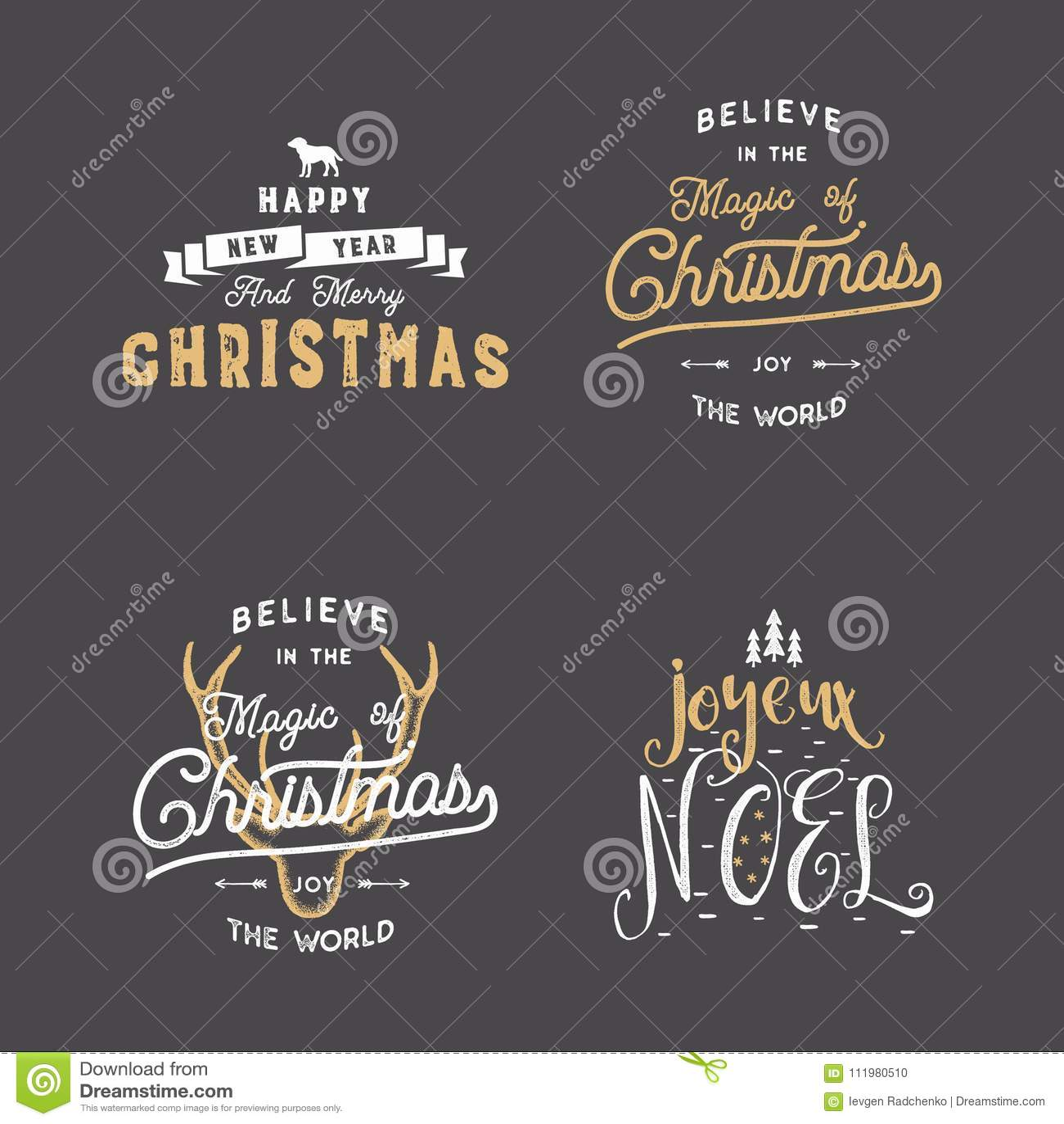 Typografie der frohen Weihnachten zitiert, die eingestellten Wünsche Sonnendurchbrüche, Band und Weihnachts-noel Elemente, Ikonen