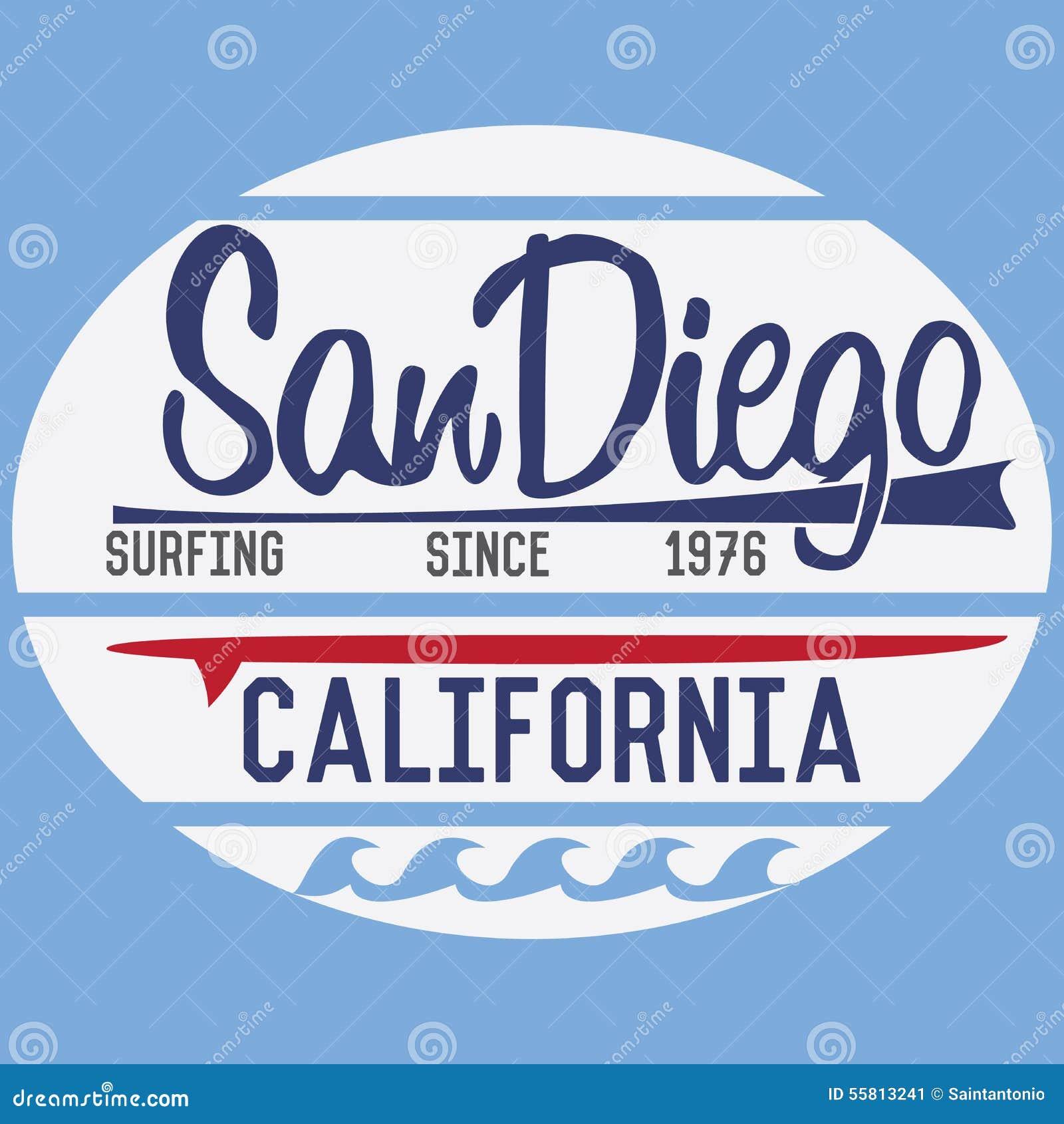 Typografie Kaliforniens San Diego, T-Shirt Druckdesign, Sommervektor ...