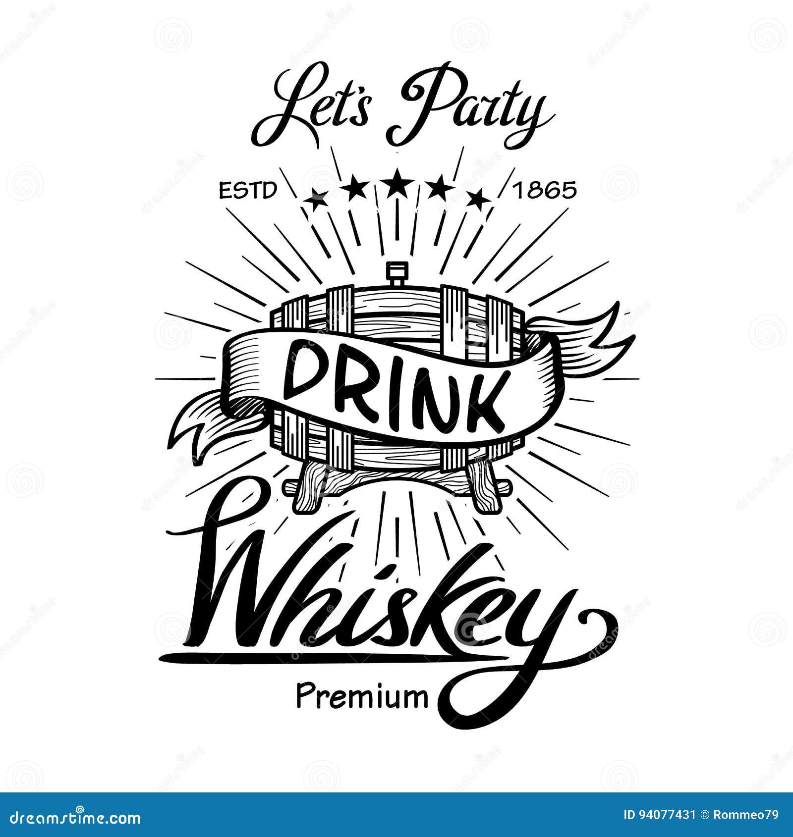 Typografie-Tafelvektor der Whiskyaufkleberweinlese Hand gezeichneter Grenz alcohol Hölzerne Fassgetränkzeichen Typografische Aufk
