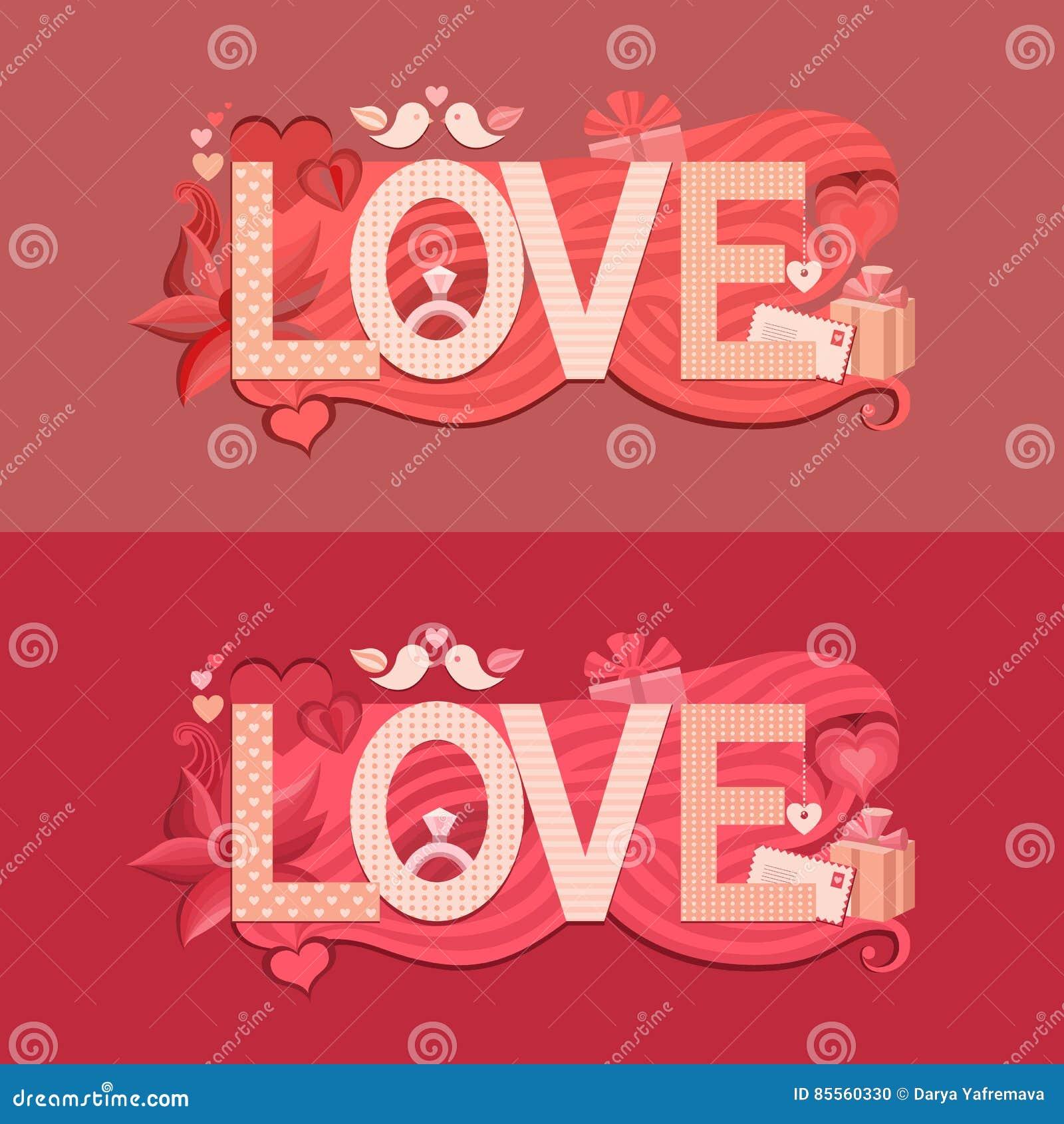 Typografie-Valentinsgrußtag