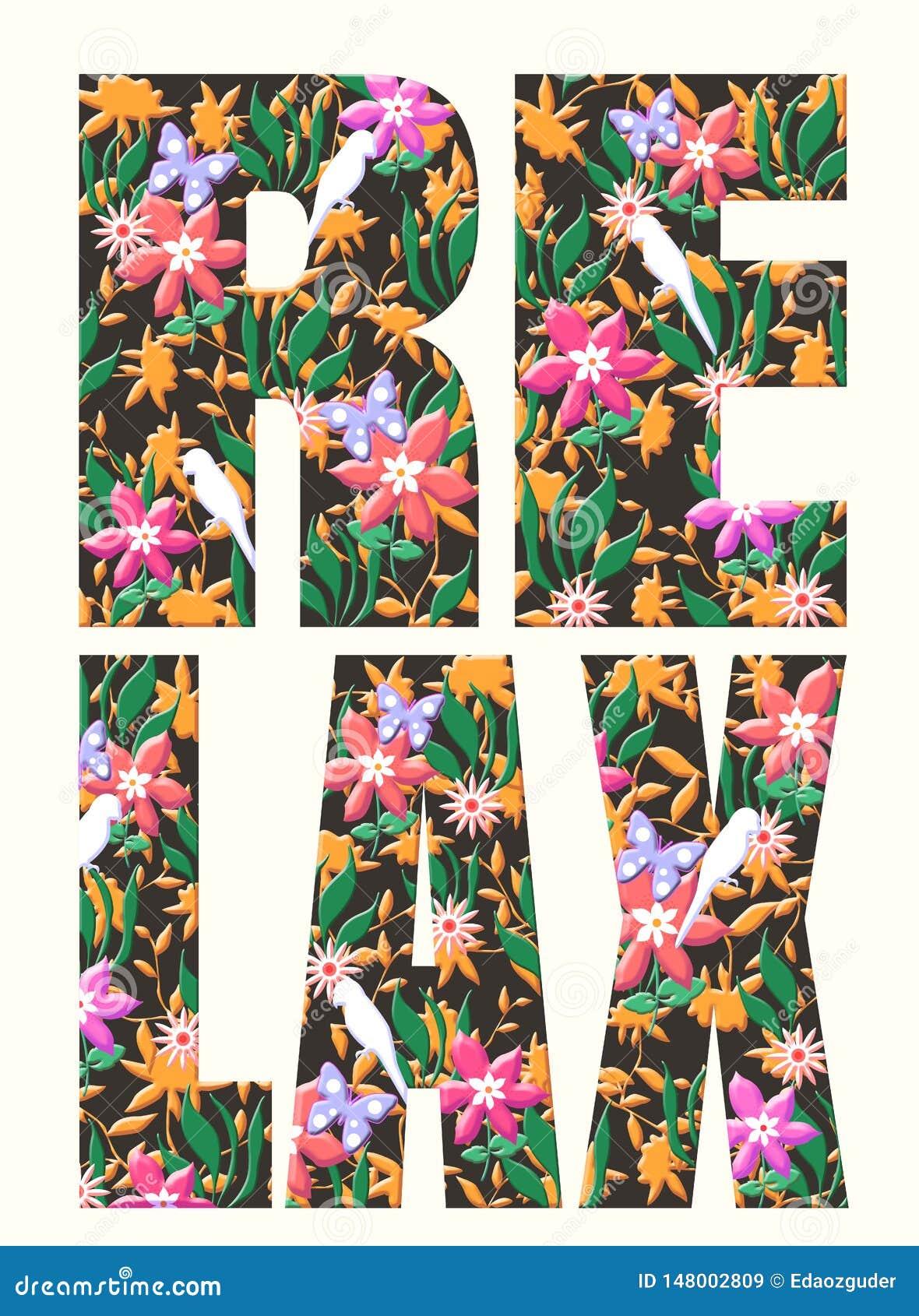 Typografieslogan met bloemillustratie