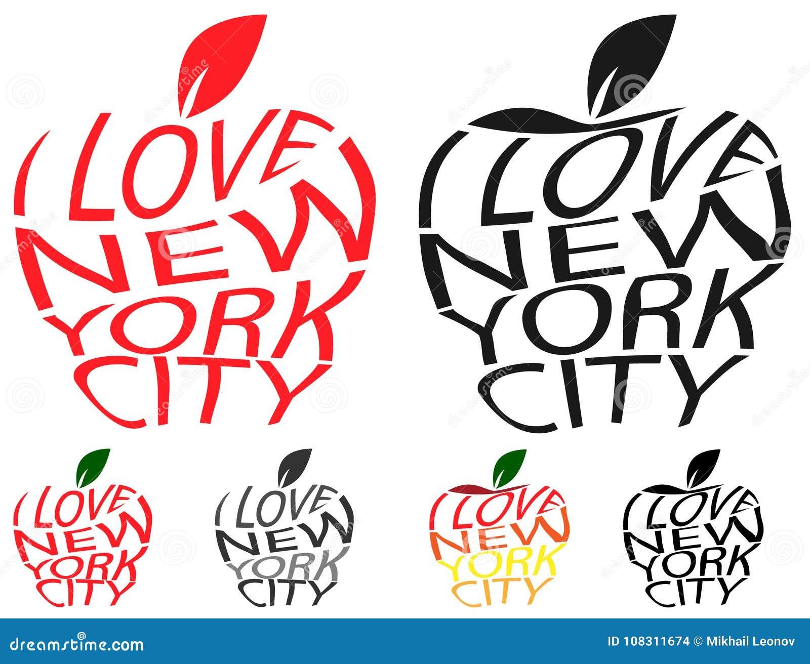 Typografieumschlag verzerren Liebe New York City des Vektortextes I in der großen Apple-Symbolzeichenform Verzerrtes Liebe NYC de