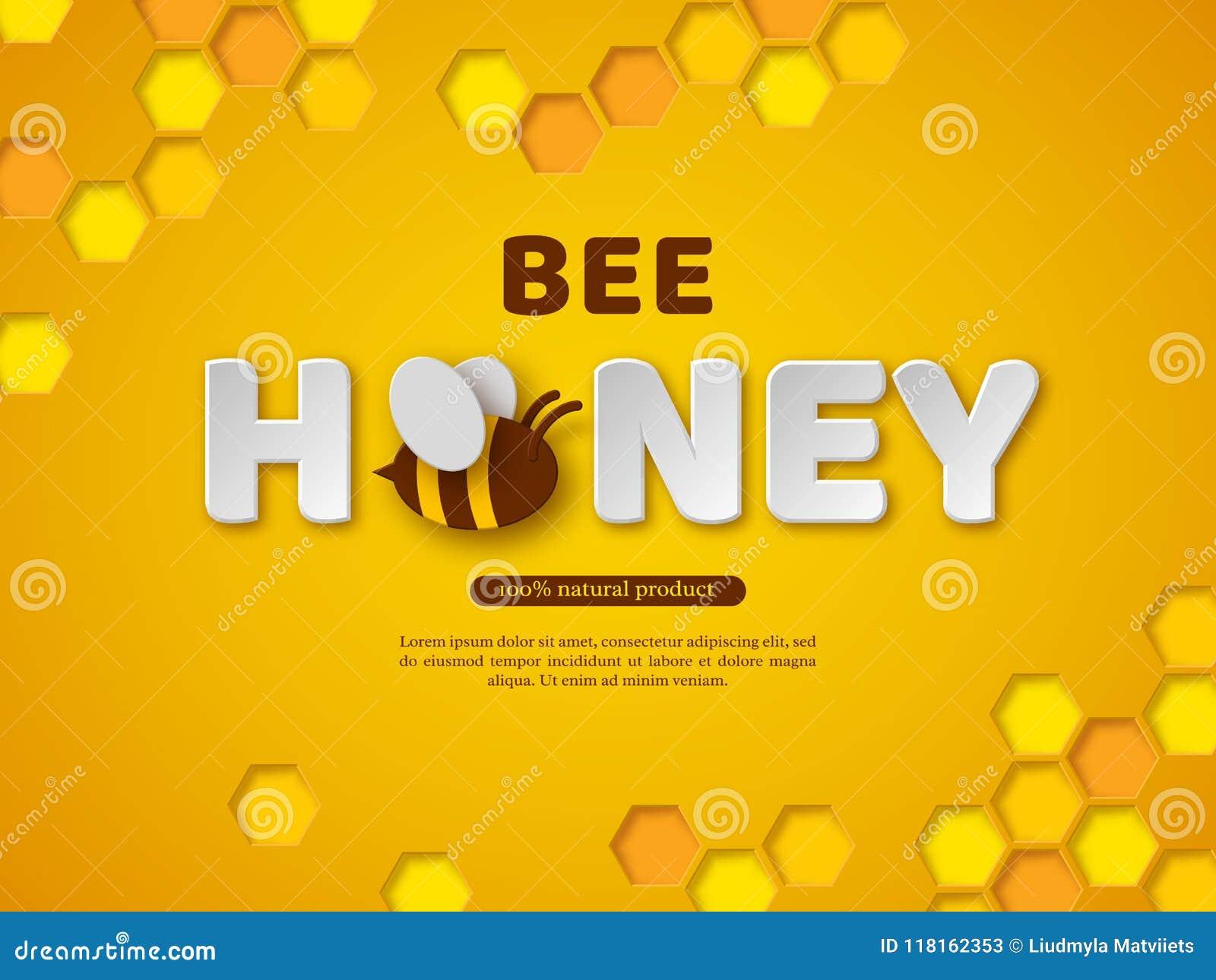 Typografisches Design des Bienenhonigs Papier schnitt Artbuchstaben, -kamm und -biene Gelber Hintergrund, Vektorillustration
