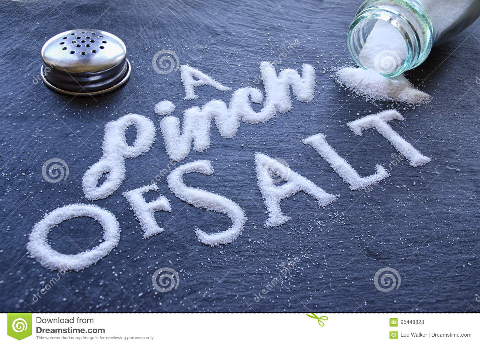 A Pinch Of Salt Stock Photo Image Of Season Word Font 95448828