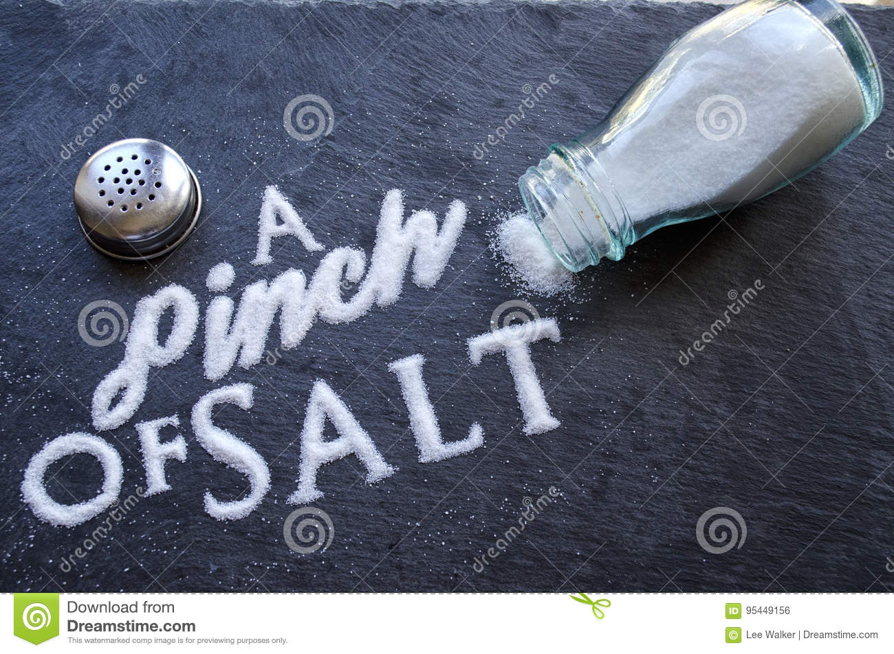A Pinch Of Salt Stock Photo Image Of Letters Grain 95449156