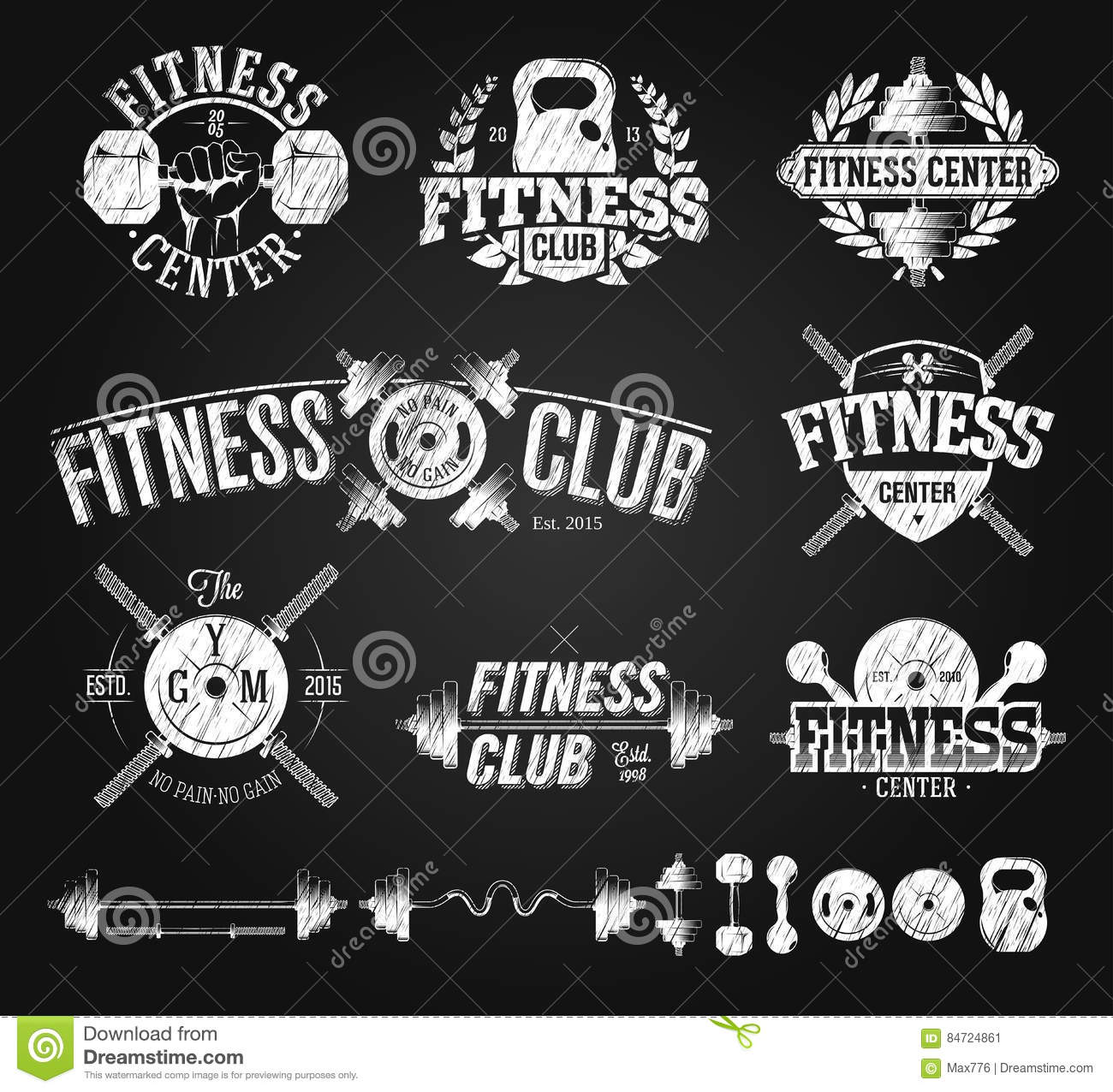 Typographic Fitness Emblems Chalk Drawing Stock Vector